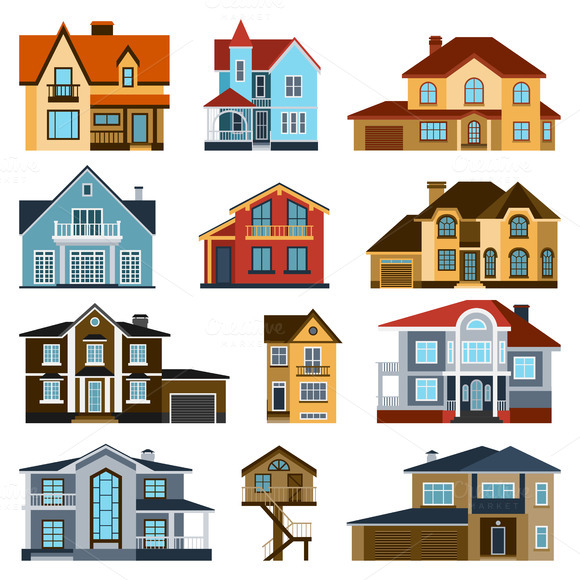 Houses Front View Vector