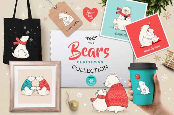 Polar Bears Christmas Illustrations