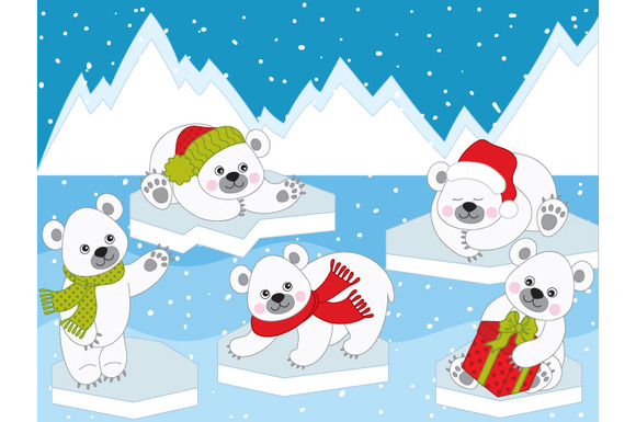 Vector Christmas Polar Bears