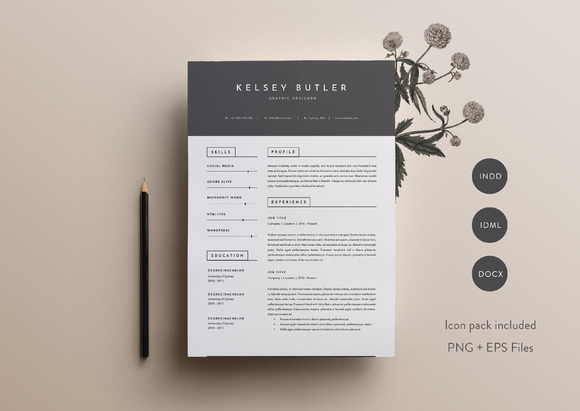 page resume template indd docx resume templates on creative