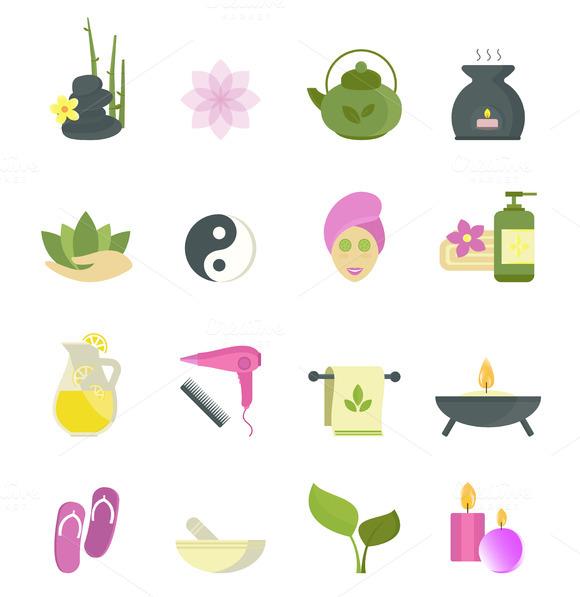 Spa Beauty Icons Vector