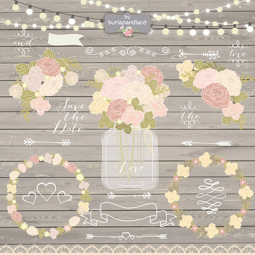Vector chalk/rustic flower clipart ~ Illustrations on ...