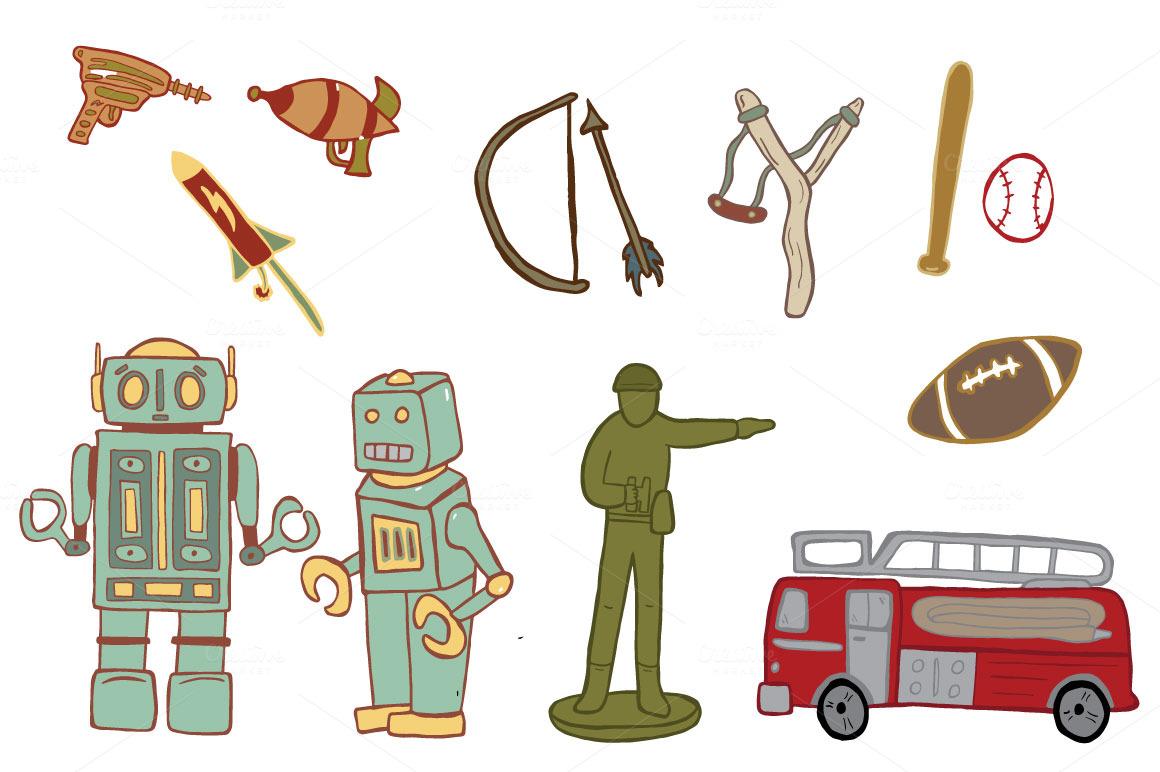 Boy Toys Clipart : Boy toys illustrations on creative market