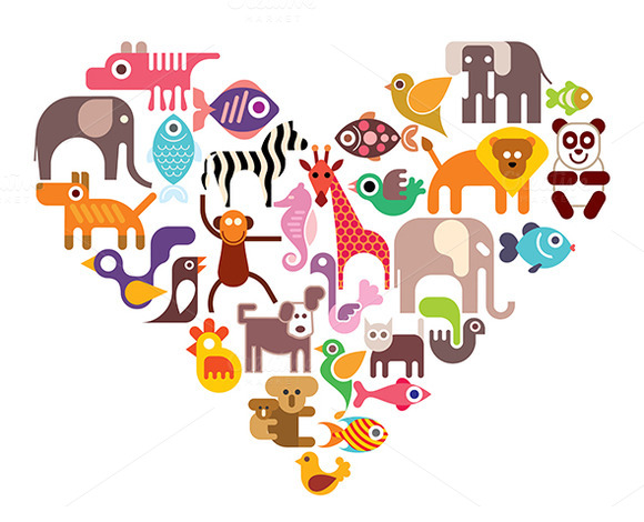 Heart with animal vector icons ~ Illustrations on Creative ...