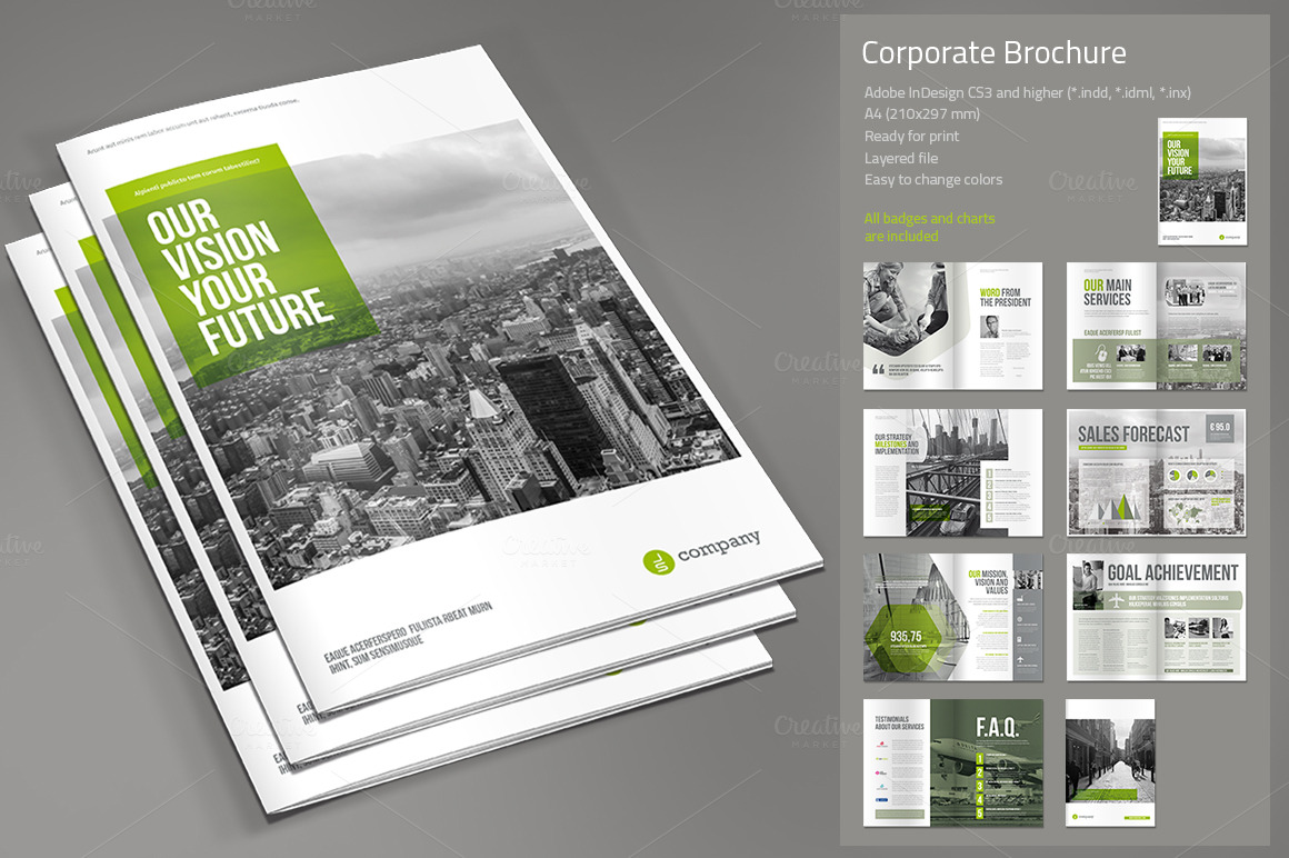 Corporate brochure brochure templates on creative market for Template brochure