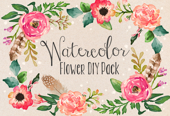 Watercolor Flower DIY Pack Vol.1 - Illustrations