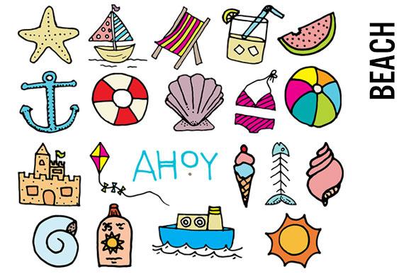 Beach Doodle Clipart ~ Illustrations on Creative Market