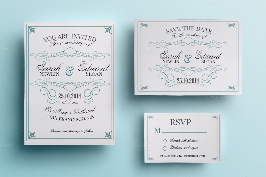 What To Include In A Wedding Invitation Pack: Vintage Wedding Invitation Pack