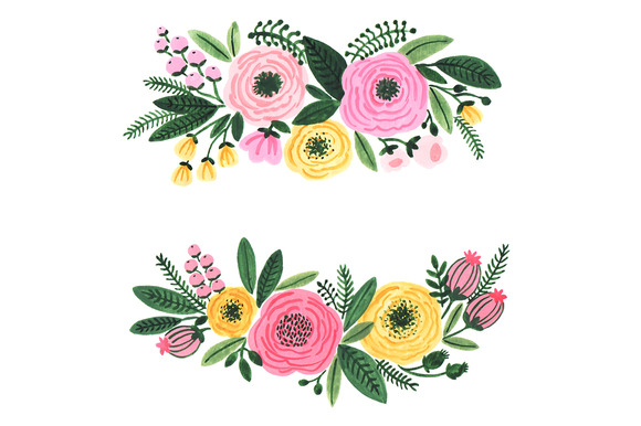 Watercolor garden flowers clipart illustrations on for Garden design graphics