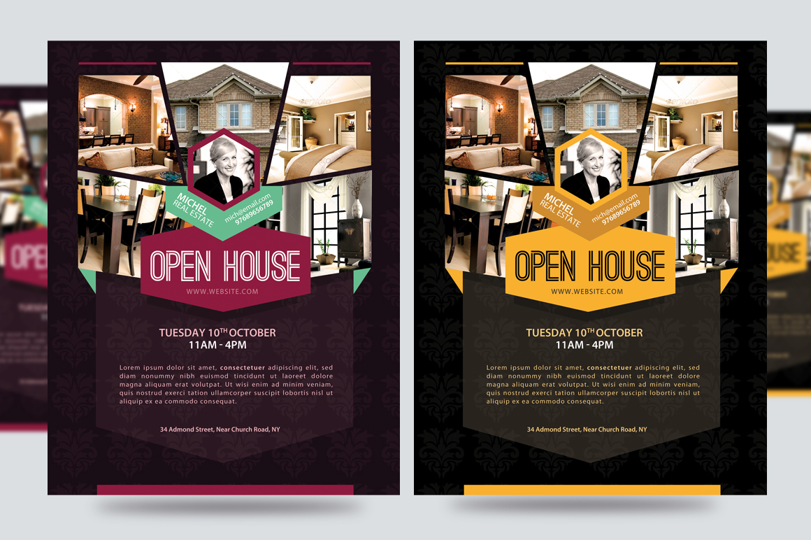 Open house promotion flyer v1 flyer templates on for Open house brochure template