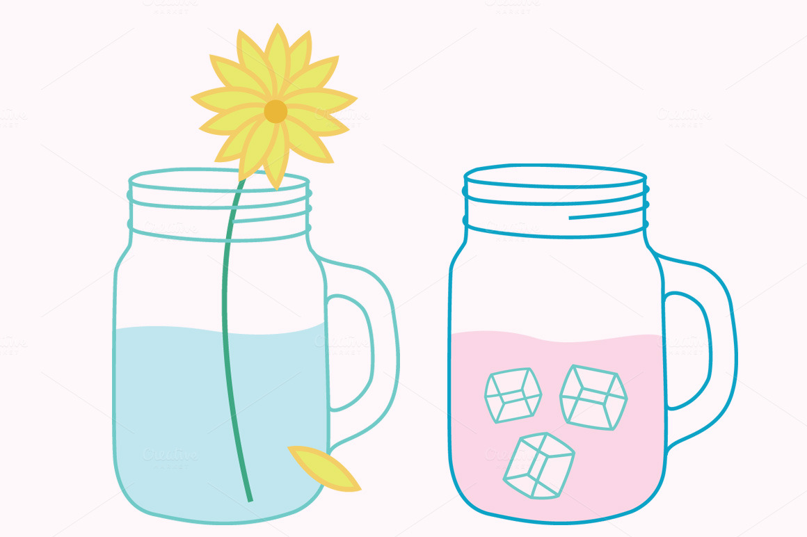 Mason Jars Clipart Vector Set ~ Illustrations on Creative ...