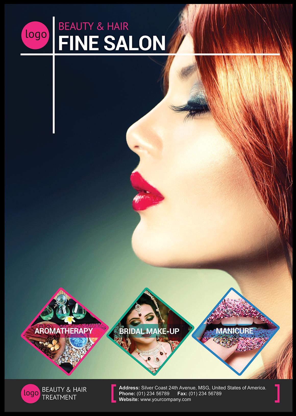 Beauty and hair salon flyer flyer templates on creative for Makeup salon