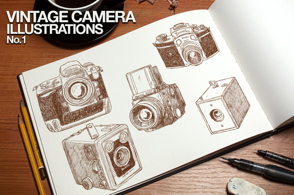 Vintage Camera Illustrations No.1 - Illustrations