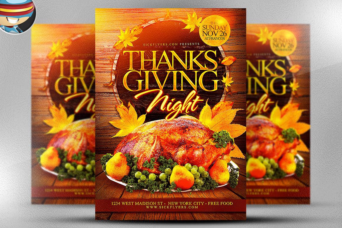 thanksgiving night flyer template flyer templates on creative market. Black Bedroom Furniture Sets. Home Design Ideas
