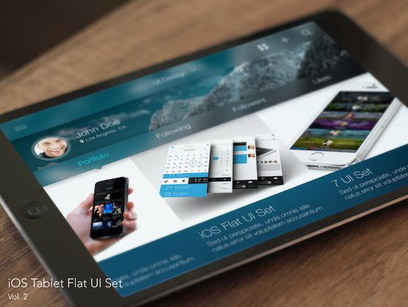 CreativeMarket - iOS Tablet Flat Pad UI Set Vol. 2 - 87598