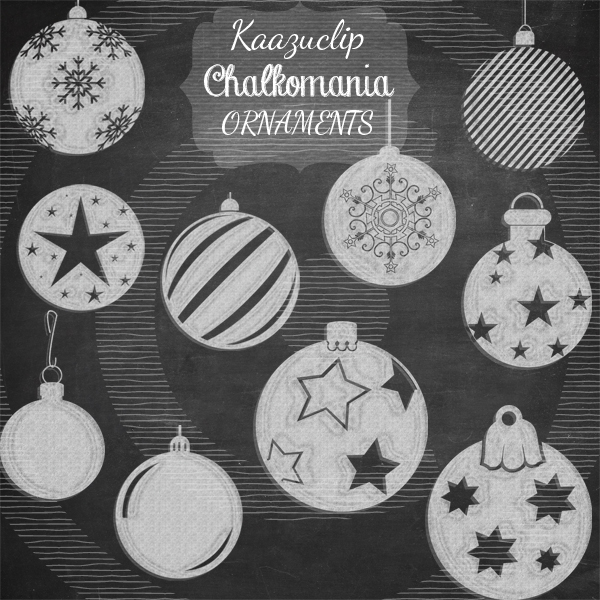 Chalkart christmas ornaments set objects on creative market