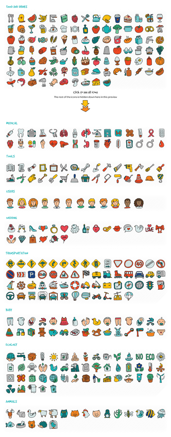 1000 Hand Drawn Doodle Icons - Icons - 4