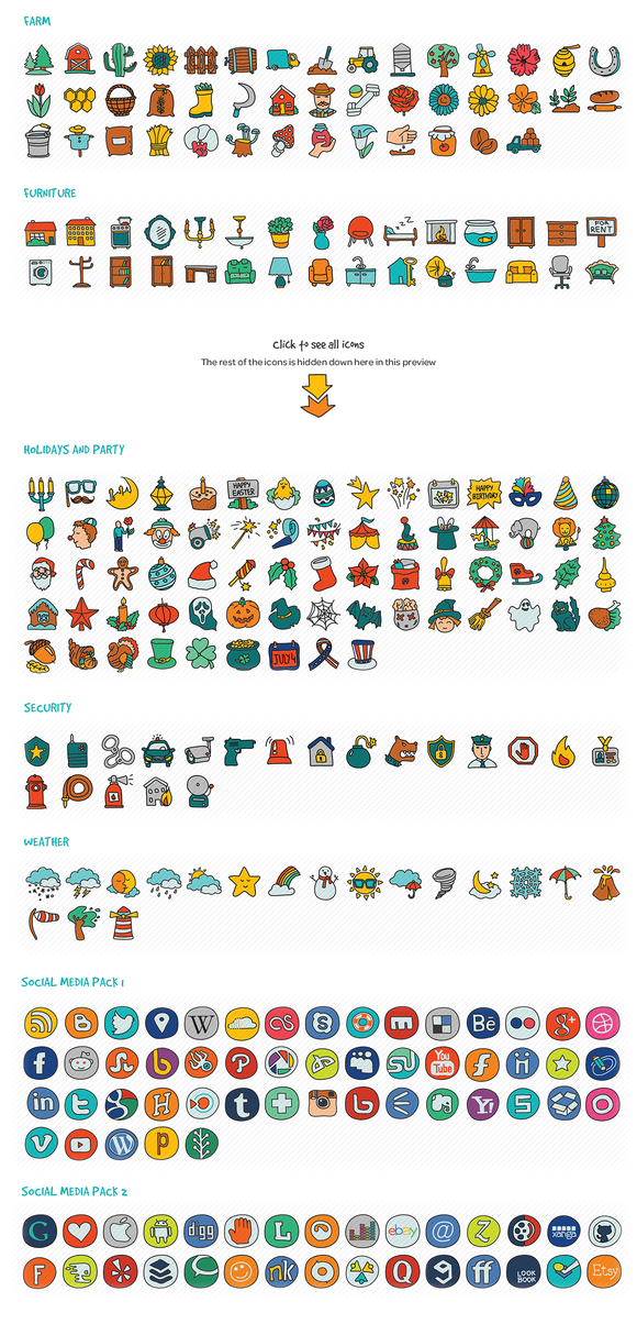1000 Hand Drawn Doodle Icons - Icons - 3