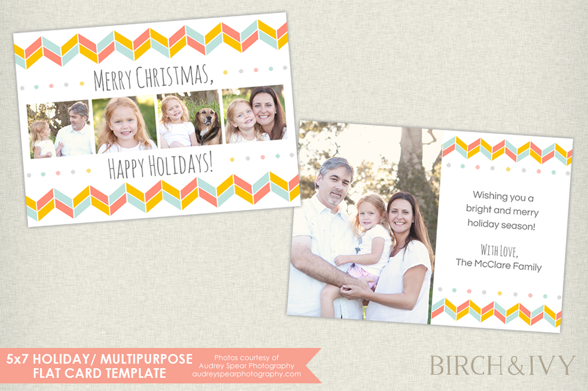 5x7 holiday photo card card templates on creative market. Black Bedroom Furniture Sets. Home Design Ideas