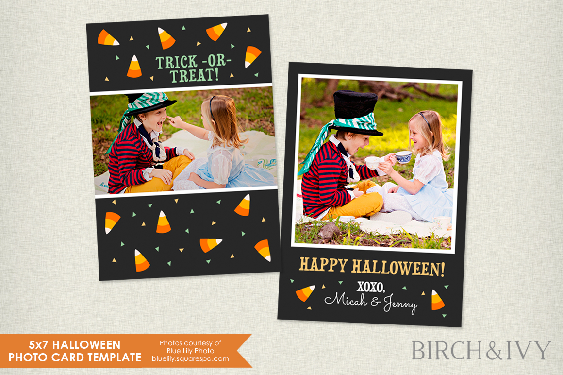 5x7 halloween photo card template card templates on creative market. Black Bedroom Furniture Sets. Home Design Ideas