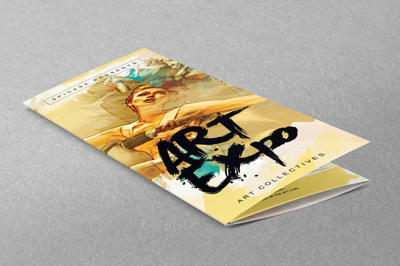 Art show expo trifold brochure brochure templates on for Art brochure template