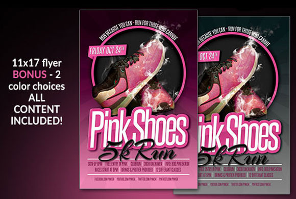 pink shoes 5k run flyer