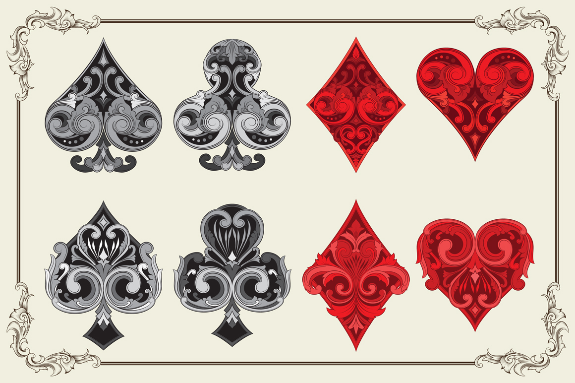 ornament playing card illustrations on creative market. Black Bedroom Furniture Sets. Home Design Ideas