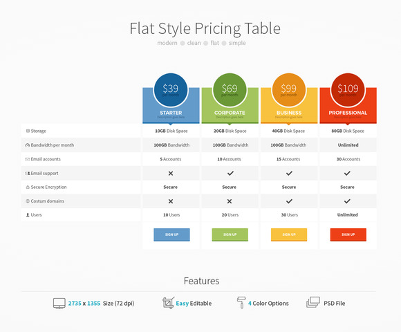 Flat style pricing table web elements on creative market for Table website