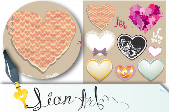 Hearts. Elements for Valentine`s Day - Illustrations