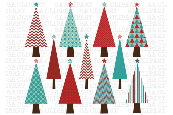 Christmas tree clipart illustrations on creative market
