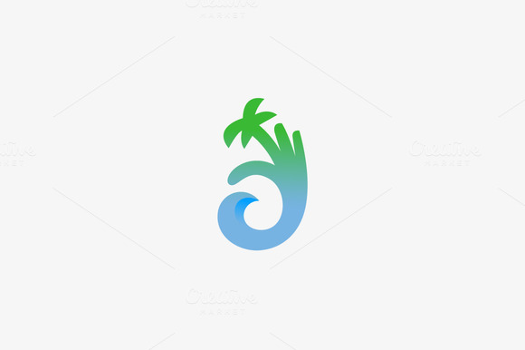 Hand Palm Ok Wave Logo