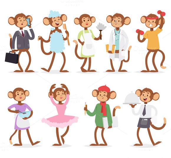 Monkey Like People Vector Characters