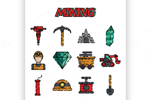 Mining Flat Icon Set