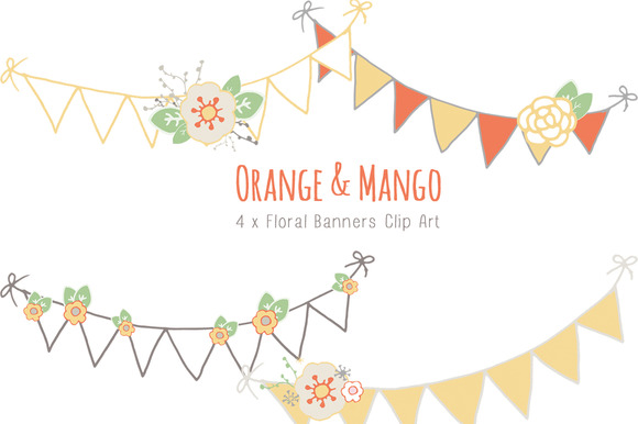 Orange Mango Floral Banners