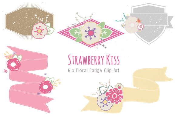 Strawberry Kiss Floral Badges