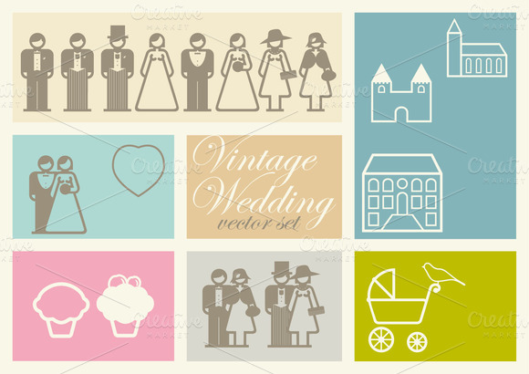 36 Vintage Wedding Icons Vector Set