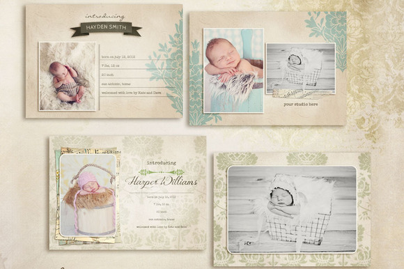 Simply Birth Announcement Cards ~ Card Templates on ...