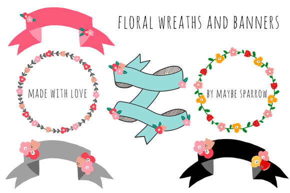 Floral Wreaths And Banners
