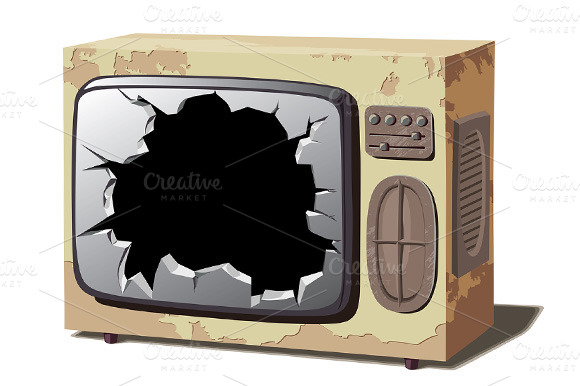 Old Broken TV Set