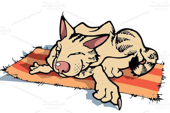 Resting Sly Cartoon Cat