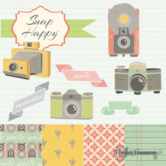 Vintage Cameras Clipart And Paper