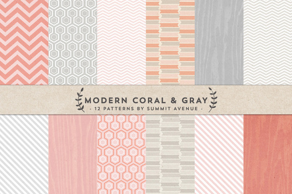 Modern Coral Gray Digital Papers