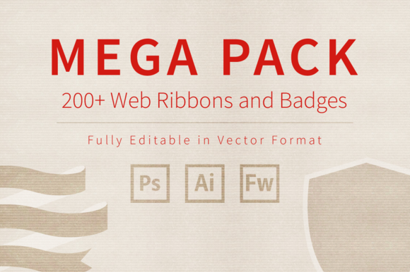 Mega Pack Of Web Ribbons And Badges