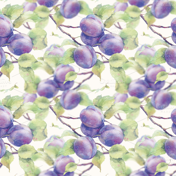 Watercolor Pattern With Plum Branch
