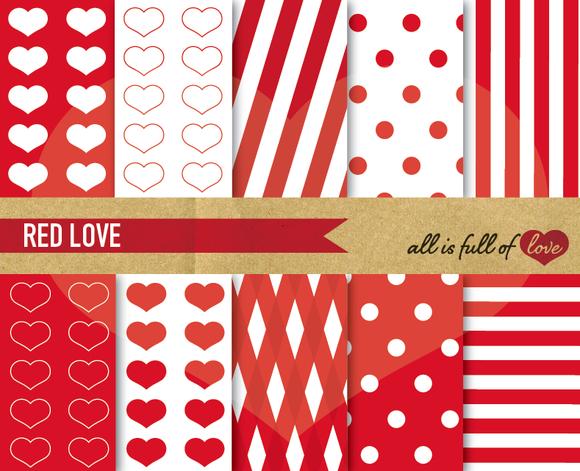 10 Red Printable Digital Papers Set
