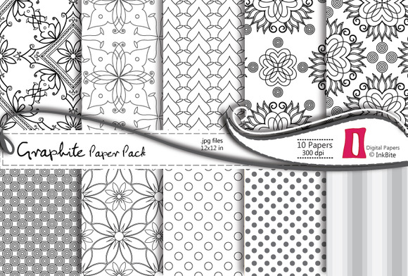 Graphite Floral Digital Paper Pack