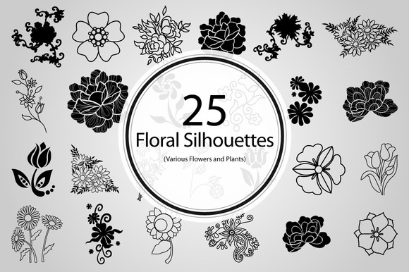 25 Floral Silhouettes