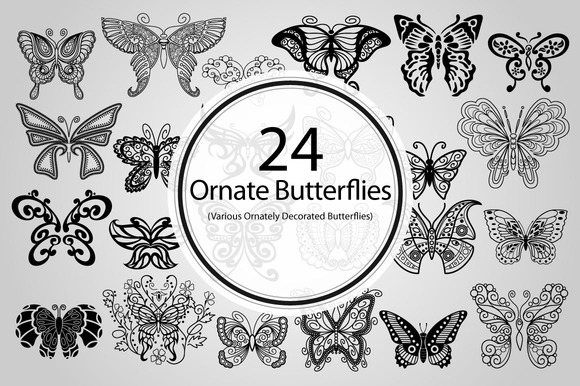 24 Ornate Butterflies