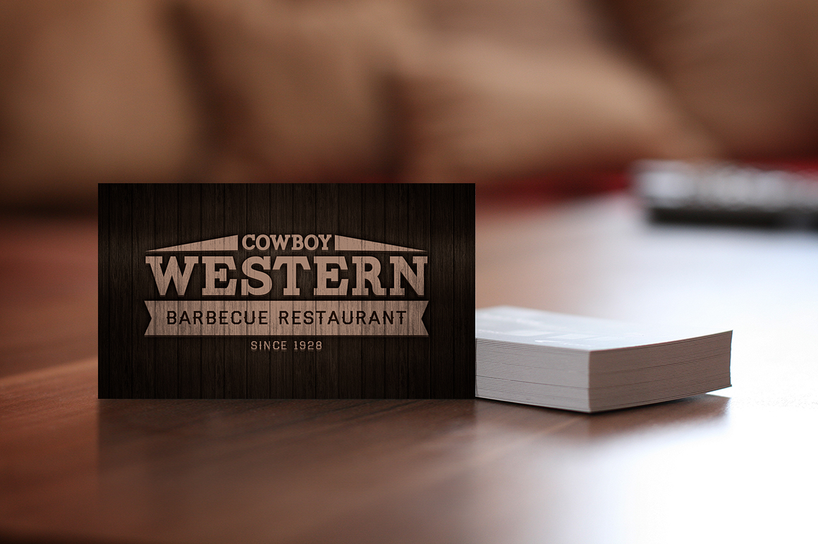 wood bbq business cards   logo
