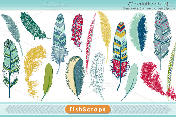 Colorful Feather Clip Art
